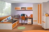 dormitorio juvenil pino dkp-naranja Humanes