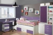 dormitorio juvenil blanco-rosa Humanes