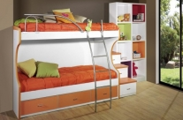 dormitorio juvenil blanco-naranja Humanes
